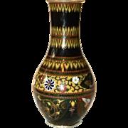19th Century Japanese silver wire Cloisonne Enamel bird figural vase