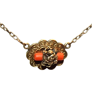Victorian 14k Yellow Gold & Coral Necklace 15 1/4""