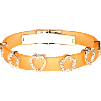 18k White Gold & Diamond Peach Rubber Silicone Bracelet Hearts & Flowers