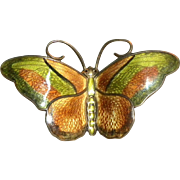 Large Vintage David Andersen Norway Sterling Silver Guilloche Enamel Butterfly Brooch / Pin