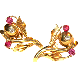 Vintage c1940 14k yellow gold & Ruby Floral Screw Back Earrings