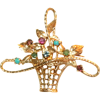 Vintage 14k Yellow Gold w/ Ruby, Turquoise and Sapphire Floral Basket Brooch / Pin or Pendant