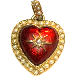 Victorian 14k Yellow Gold & Red Gullioche Enamel Heart Shaped Pendant with Seed Pearls
