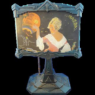 RARE Art Deco Mazda Lamp GE Advertisement Desk Lamp w/ Reverse Painted Glass