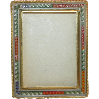 c1900 Rectangular Ornate Miniature Victorian Micro Mosaic Photo Frame Italy