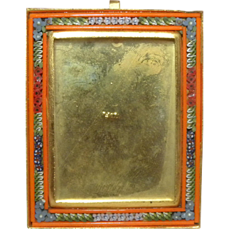 c1900 Rectangular Miniature Italian Micro Mosaic Photo Frame Orange Border