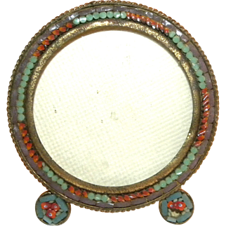 c1900 Round Footed Miniature Italian Micro Mosaic Photo Frame