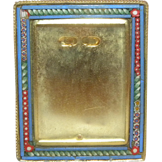 c1900 Square Italian Victorian Micro Mosaic photo frame blue border