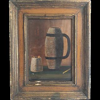 John F. Peto (1854–1907) Oil on Board Still Life depicting Matches & a Mug