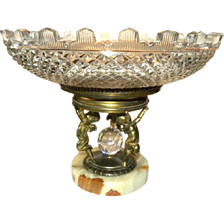 Pairpoint Bronzed Centerpiece w/ putti & glass bubble ball on alabaster plinth