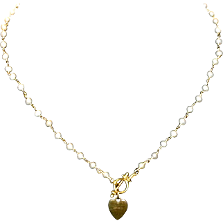 "14k Yellow Gold & Cultured Seed Pearl 17 1/2"" Necklace with Heart Toggle"