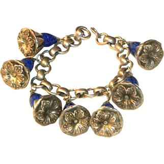 c1920 Sterling Silver & Blue Speckled Murano Glass Flower Bracelet 7""