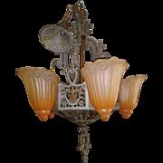 1920s Art Deco 5 light slip shade Chandelier Lincoln Lighting Company
