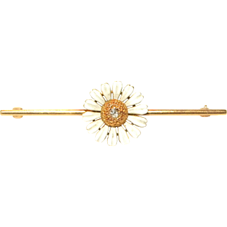 Vintage 14k Yellow Gold & Diamond Solitaire Enameled Daisy Brooch Pin