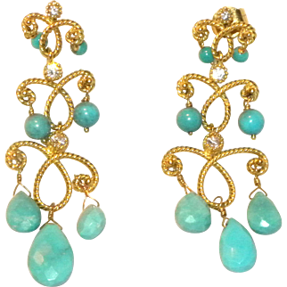 Designer 14k Yellow Gold Persian Turquoise & Diamond Drop Chandeier Pierced Earrings