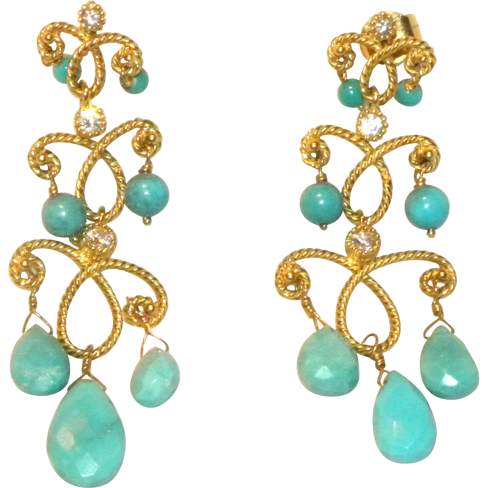 Designer 14k Yellow Gold Persian Turquoise & Diamond Drop Chandeier Pierced  Earrings