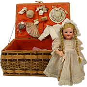 Kammer & Reinhardt Celluloid Head Doll with Trunk and Clothes K & R 728