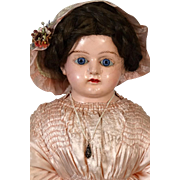 Early Rare Antique German Wax Over Papiermache Doll