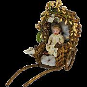 Antique Miniature Rickshaw For Dolls