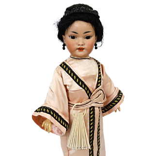 Rare Antique Oriental German Bisque Head Doll Simon & Halbig S&H 1129