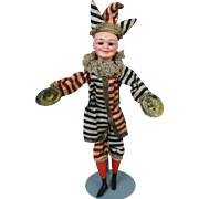 Rare Antique German Bisque Head Doll Mechanical Clown Jester Simon & Halbig S&H 151