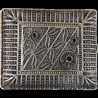 Russian Antique Filigree 84 Standard Silver Cigarette Case Card Case