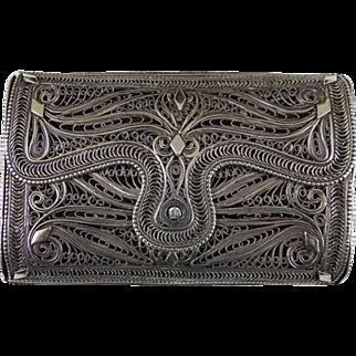 Antique Filigree 84 Standard Silver Wallet Purse