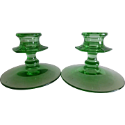 Fostoria Faifax Green Depression Glass Candlesticks Set of 2