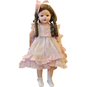 "Vintage 1925 Effanbee Rosemary RARE 27"" Original Walk Talk Sleep Baby Doll Minty Antique Pink organdy"