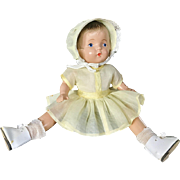 "Vintage 1930's Bobby Anne Kiddie Pal 12"" Compositio​n Unmarked Baby Doll Yellow organdy dress and bonnet"