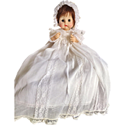 "Vintage 1965 Madame Alexander Sweet Tears Christenin​g Dress & Bonnet Baby Doll 13"" Dark Brunette HTF"
