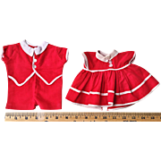 "Vintage 1940's Effanbee Candy Kid 13"" Baby Doll Red Twins boy & girl dress & shortall outfit"