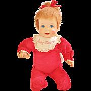 Vintage 1965 Mattel Baby Secret Doll Red head Plush red sleeper still talks!  Works well