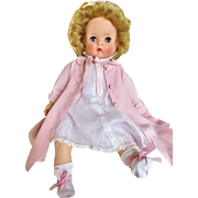 "Vintage 1951 1952 Madame Alexander Rare Bonnie Toddler Baby Doll original Pink tagged coat bonnet 18"""