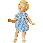 """RARE Vintage 1930's Effanbee Lovums Patsy Lou 22"""" Antique Variant Betty Bee Brite Baby Doll Platinum fur wig Tousle tot head Boo"""