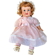 "1953 American Character 19"" Chuckles Baby toddler doll Rare red hair original pink organdy dress & bonnet Pristine"