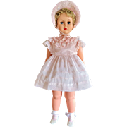 """FOR JANIER: 1950's Allied Eastern Huge 37"""" Supermarket Patti Playpal Doll in Pink Dotted Swiss party dress & Hat"""