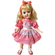 "1950's Ideal P-90 Toni baby doll ALL original 14"" blond rare coral dress"