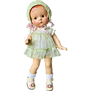 1930 Effanbee Factory Original Patsy Jr. Baby Doll In Orig Green organdy dress & Bonnet 11""