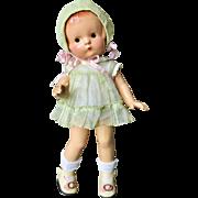 "1930 Effanbee Factory Original Patsy Jr. Baby Doll In Orig Green organdy dress & Bonnet 11"""
