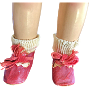 "1930 Effanbee Factory Patsy Jr. Red oilcloth Shoes for 11"" composition doll"