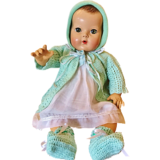 "1940's Effanbee Dy Dee Lou Baby doll 20"" molded hair Mold 2 Dressed"