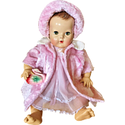 """Amazing Pink & white faux fur coat and bonnet hat for your 20"""" Effanbee Dy Dee Lou baby doll and friends"""
