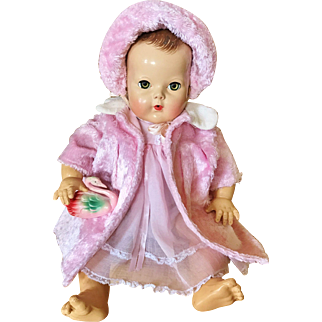 "Amazing Pink & white faux fur coat and bonnet hat for your 20"" Effanbee Dy Dee Lou baby doll and friends"