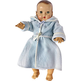 "1940 1950 Blue Eiderdown ? Bath Robe Coat For Effanbee Dy Dee Louise 21"" Baby and friends"