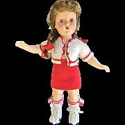 "Vintage Arranbee R&B 14"" Nanette Nancy Roller Skates Fashion Baby Doll 1940 1950 Walker Hard Plastic HP"