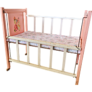1930' 1940's Vintage wooden Pink Baby Doll Crib Miss Muffet for Dy Dee and Tiny Tears