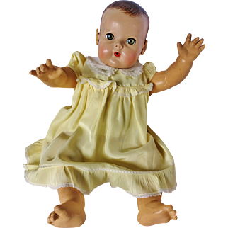 """Vintage Spring Yellow Ruffle Dress For Effanbee Dy Dee Louise 20"""" Baby Doll and friends"""