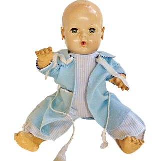 """Factory Tagged vintage sweet Blue bath robe Pajama over coat for your 16"""" Effanbee Dy Dee Baby Doll or friends"""