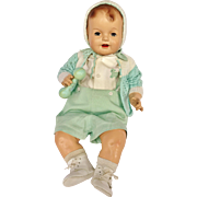 "1930's Darling Huge 28"" Big Happy Chubby Composition Smiling Baby Boy Doll"